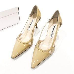Manolo Blahnik Nude Patent Leather Heels
